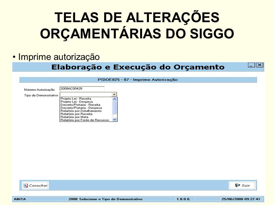 TELAS DE ALTERAÇÕES ORÇAMENTÁRIAS DO SIGGO
