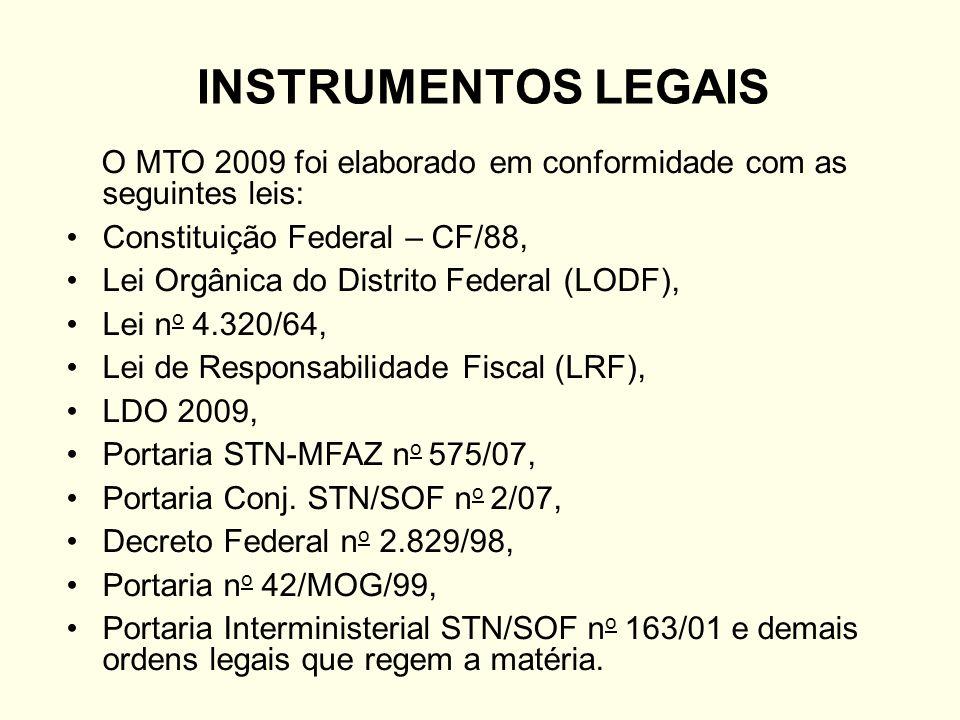 INSTRUMENTOS LEGAIS O MTO 2009 foi elaborado em conformidade com as seguintes leis: Constituição Federal – CF/88,