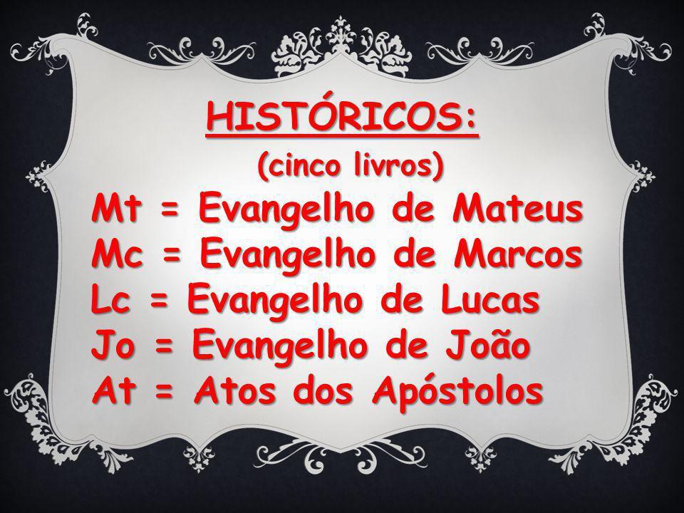 HISTÓRICOS: (cinco livros) Mt = Evangelho de Mateus. Mc = Evangelho de Marcos. Lc = Evangelho de Lucas.