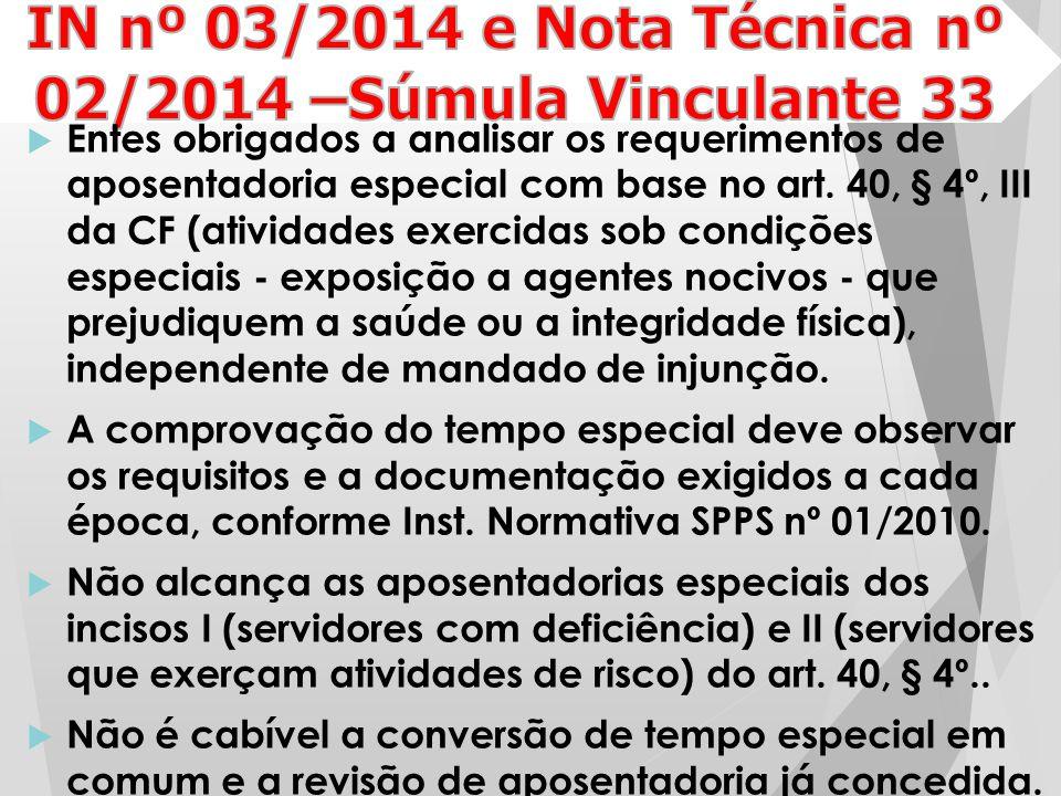 IN nº 03/2014 e Nota Técnica nº 02/2014 –Súmula Vinculante 33
