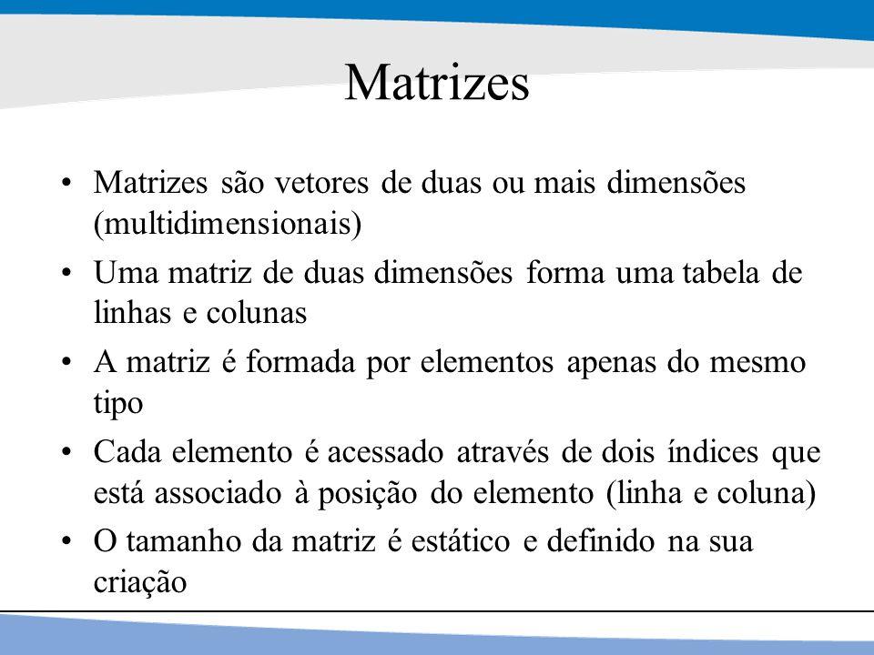 Matrizes Matrizes são vetores de duas ou mais dimensões (multidimensionais) Uma matriz de duas dimensões forma uma tabela de linhas e colunas.