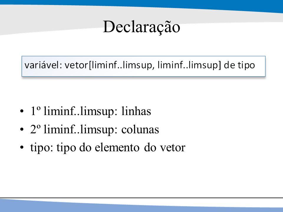Declaração 1º liminf..limsup: linhas 2º liminf..limsup: colunas