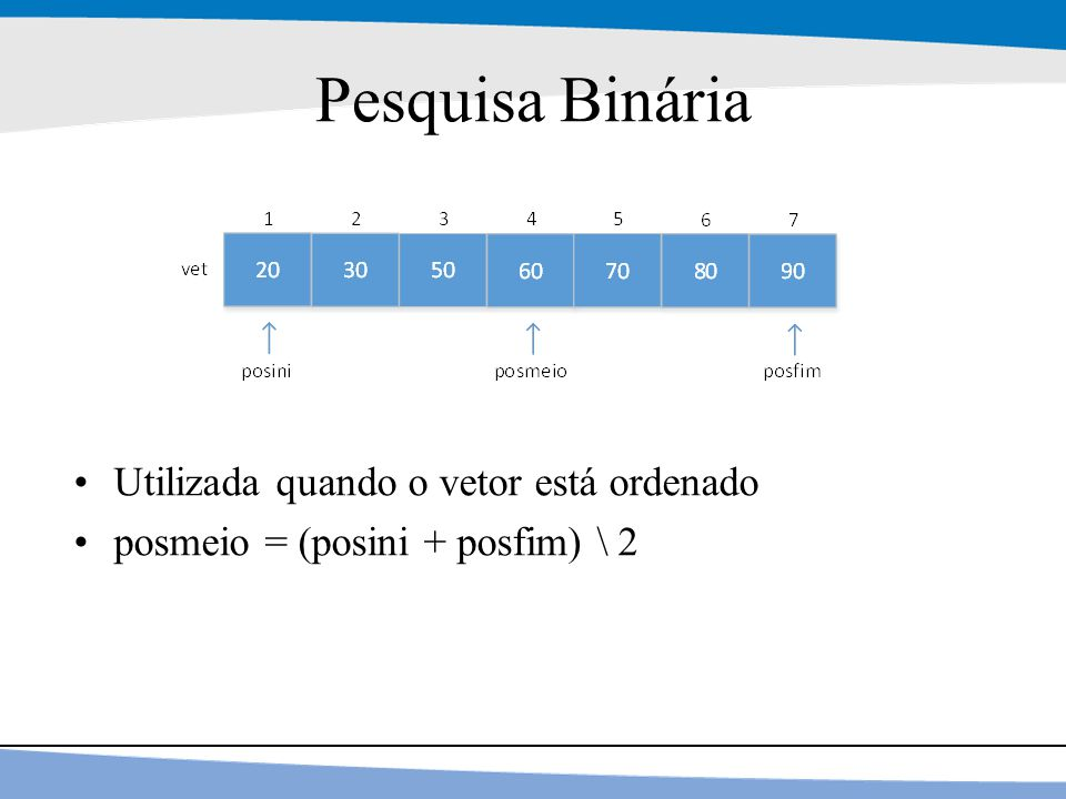 Pesquisa Binária Utilizada quando o vetor está ordenado