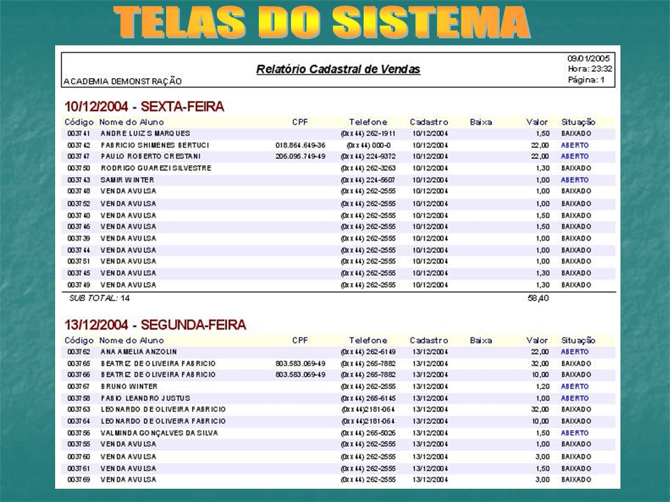TELAS DO SISTEMA