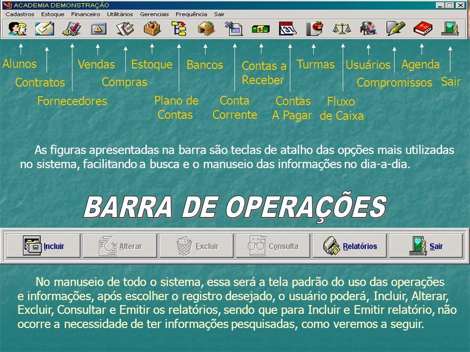 BARRA DE OPERAÇÕES Alunos Vendas Estoque Bancos Contas a Receber