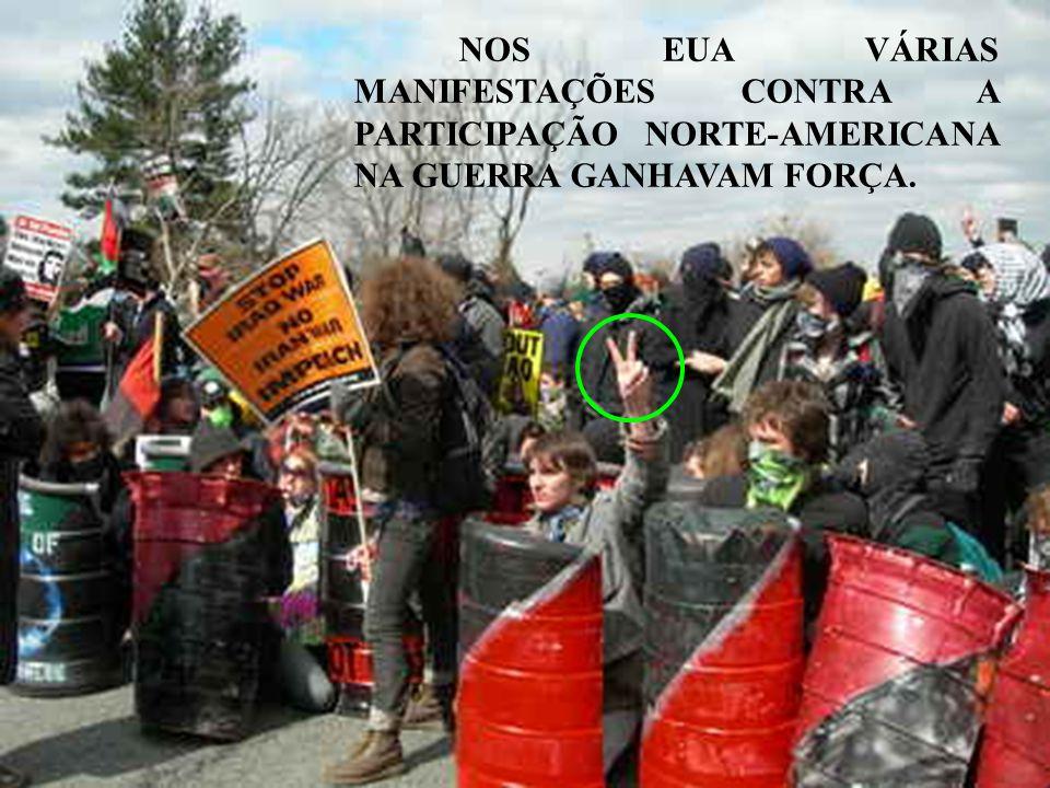 NOS EUA VÁRIAS MANIFESTAÇÕES CONTRA A PARTICIPAÇÃO NORTE-AMERICANA NA GUERRA GANHAVAM FORÇA.
