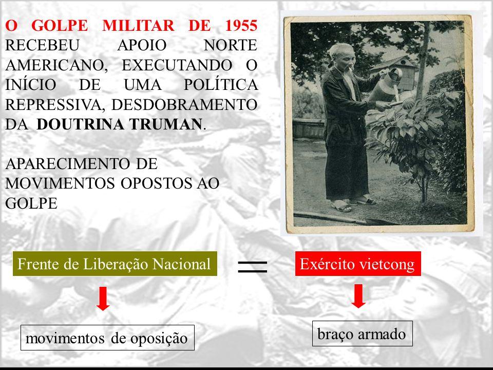 O GOLPE MILITAR DE 1955 RECEBEU APOIO NORTE AMERICANO, EXECUTANDO O INÍCIO DE UMA POLÍTICA REPRESSIVA, DESDOBRAMENTO DA DOUTRINA TRUMAN.