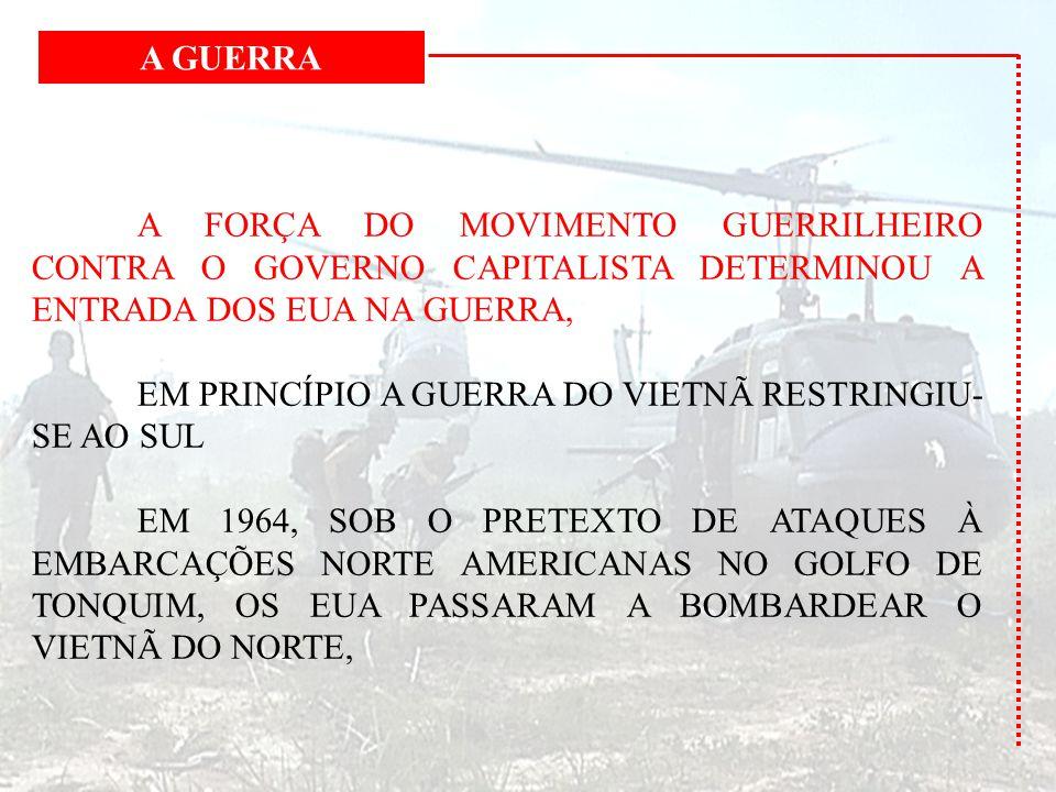 A GUERRA A FORÇA DO MOVIMENTO GUERRILHEIRO CONTRA O GOVERNO CAPITALISTA DETERMINOU A ENTRADA DOS EUA NA GUERRA,