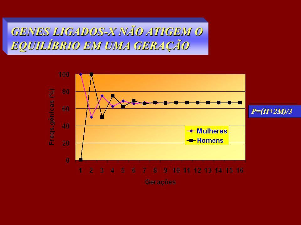 GENES LIGADOS-X NÃO ATIGEM O EQUILÍBRIO EM UMA GERAÇÃO