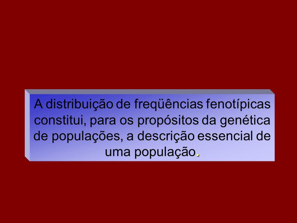 A distribuição de freqüências fenotípicas constitui, para os propósitos da genética de populações, a descrição essencial de uma população.