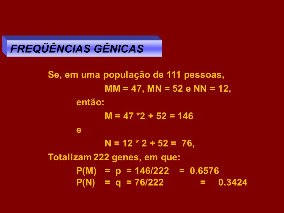 FREQÜÊNCIAS GÊNICAS Se, em uma população de 111 pessoas,