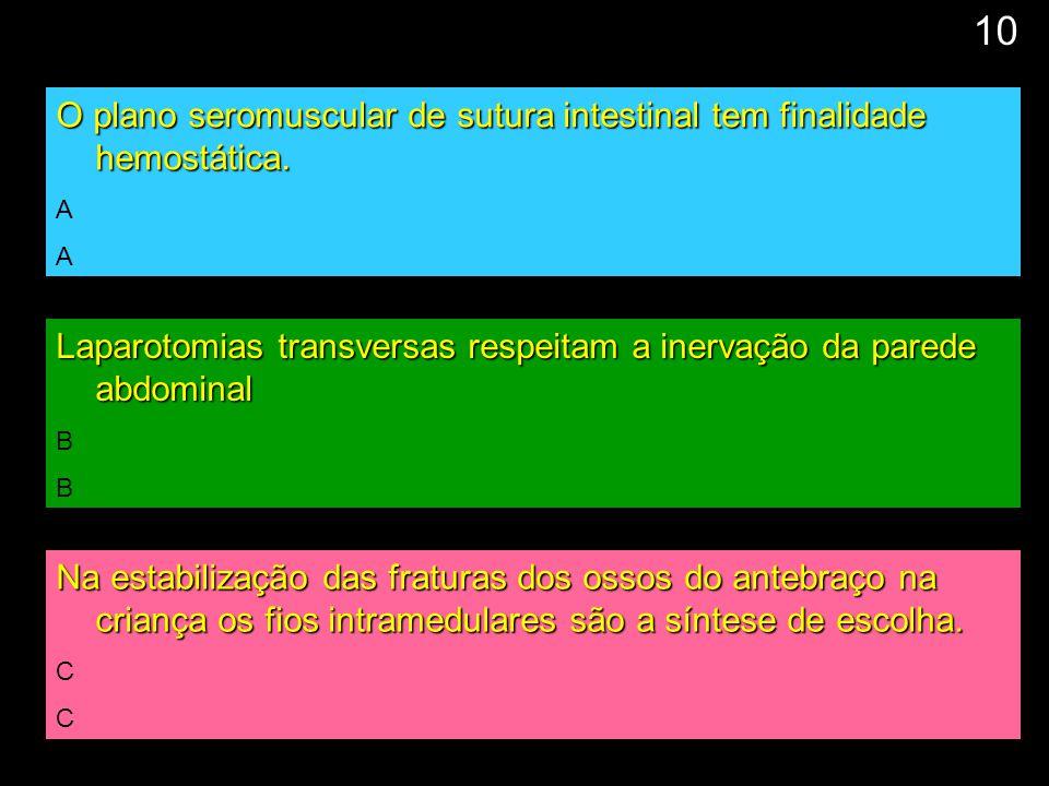 10 O plano seromuscular de sutura intestinal tem finalidade hemostática. A. Laparotomias transversas respeitam a inervação da parede abdominal.