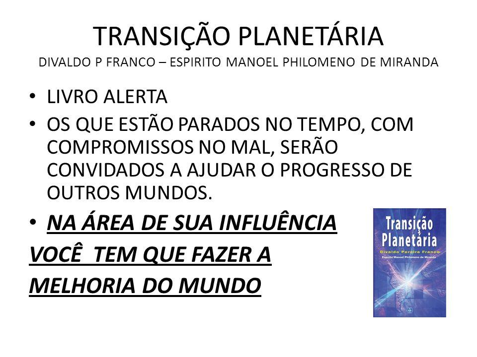TRANSIÇÃO PLANETÁRIA DIVALDO P FRANCO – ESPIRITO MANOEL PHILOMENO DE MIRANDA