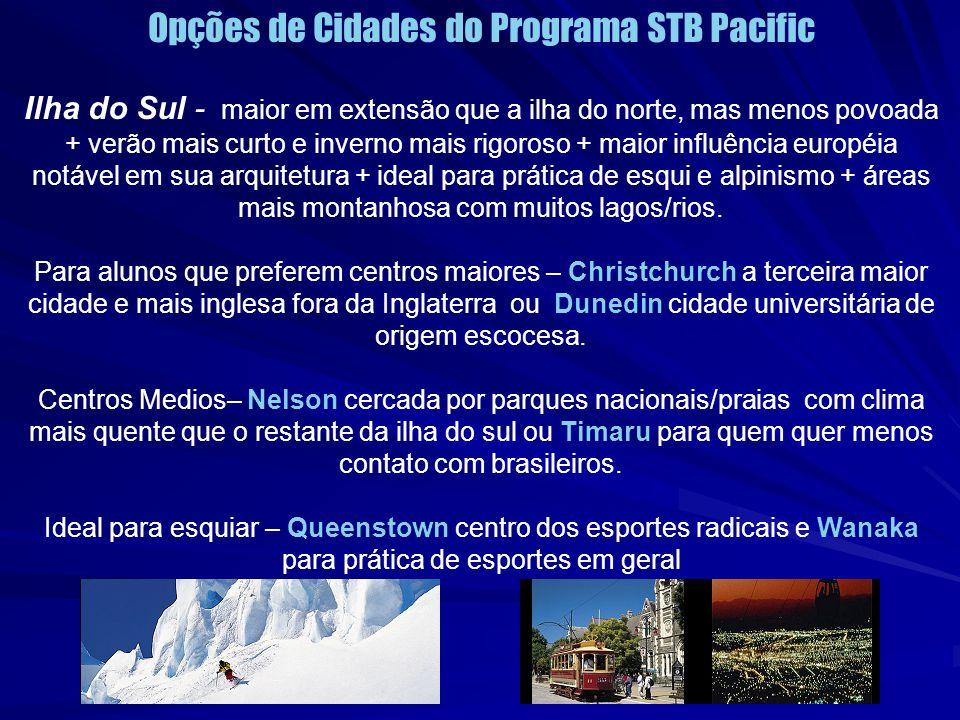 Opções de Cidades do Programa STB Pacific
