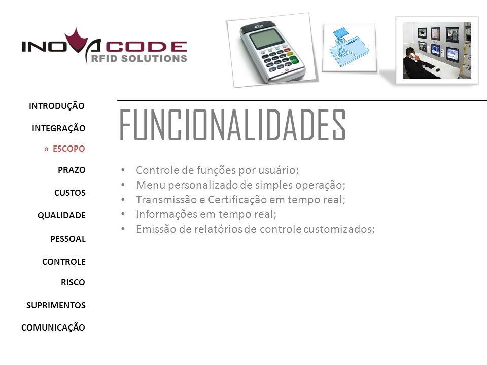 FUNCIONALIDADES Controle de funções por usuário;