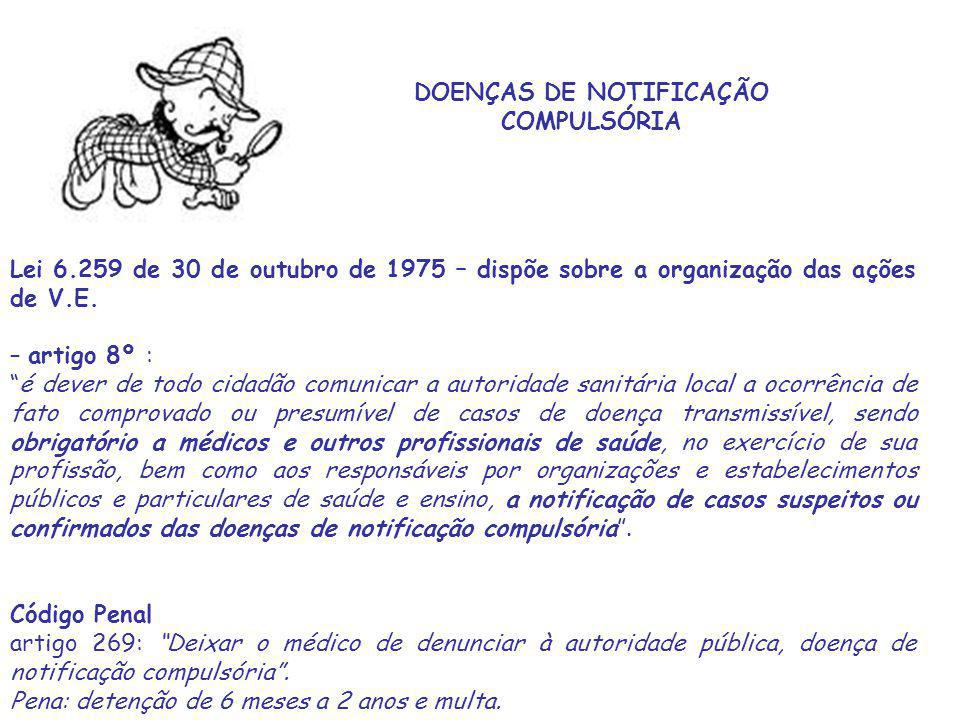 DOENÇAS DE NOTIFICAÇÃO COMPULSÓRIA