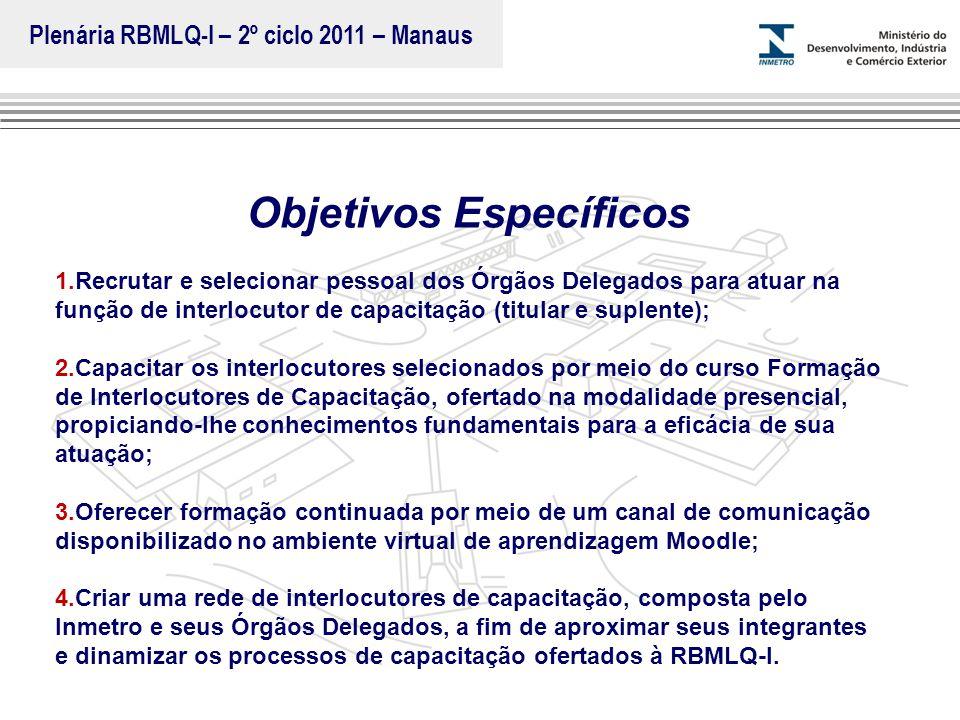 Plenária RBMLQ-I – 2º ciclo 2011 – Manaus Objetivos Específicos