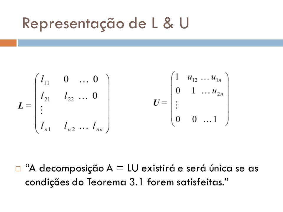 Representação de L & U A decomposição A = LU existirá e será única se as condições do Teorema 3.1 forem satisfeitas.