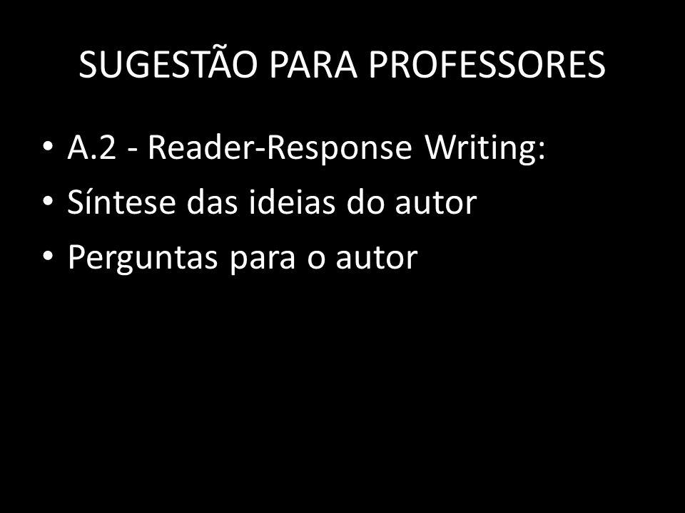 SUGESTÃO PARA PROFESSORES
