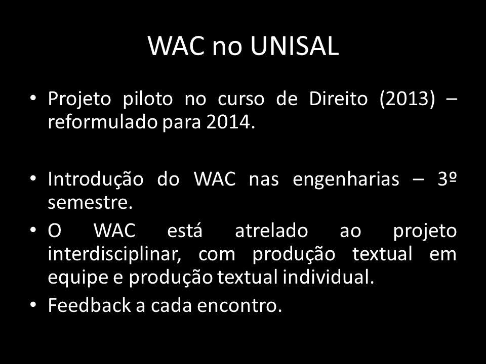 WAC no UNISAL Projeto piloto no curso de Direito (2013) – reformulado para 2014. Introdução do WAC nas engenharias – 3º semestre.