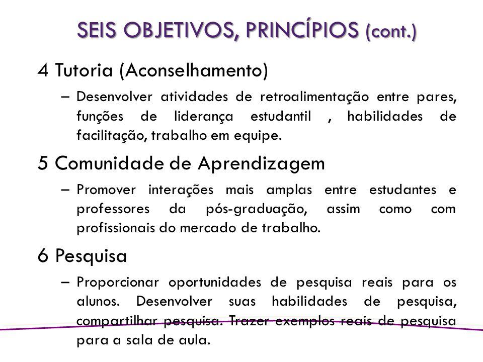 SEIS OBJETIVOS, PRINCÍPIOS (cont.)