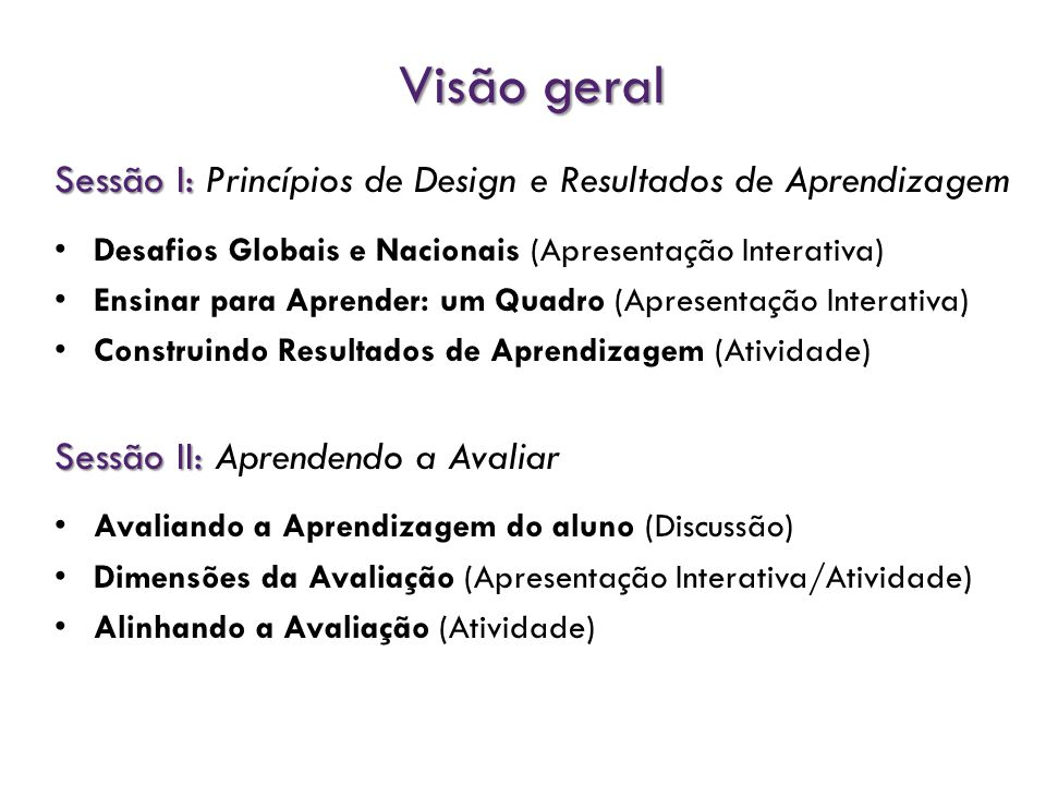 Visão geral Sessão I: Princípios de Design e Resultados de Aprendizagem. Desafios Globais e Nacionais (Apresentação Interativa)