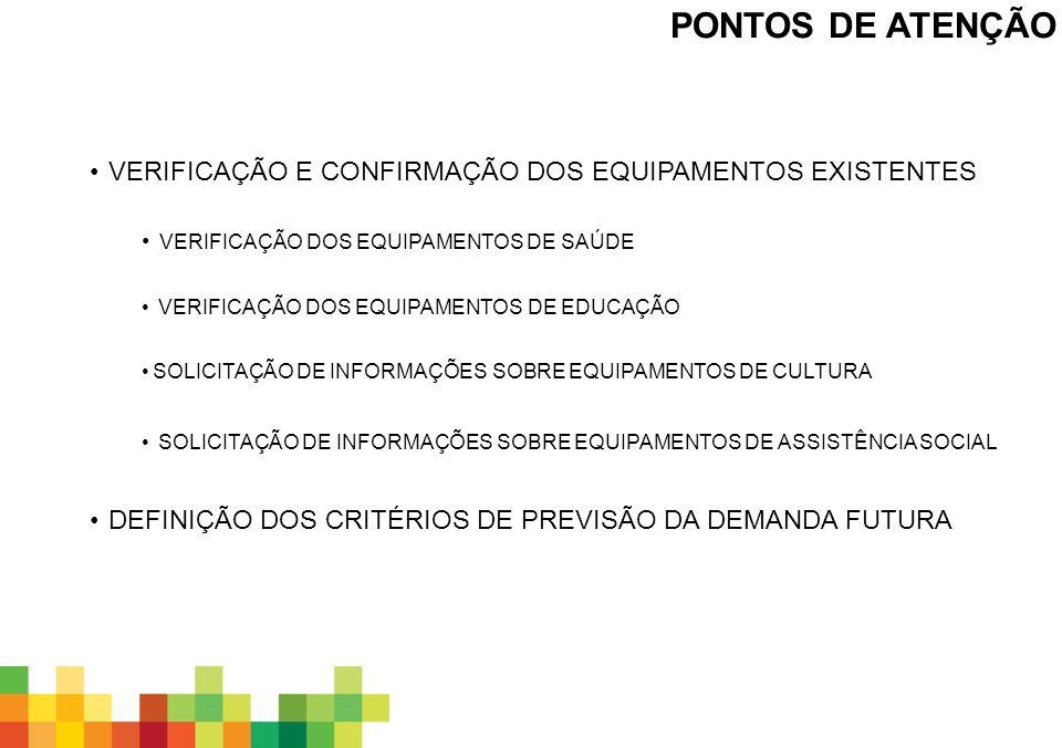 PONTOS DE ATENÇÃO VERIFICAÇÃO E CONFIRMAÇÃO DOS EQUIPAMENTOS EXISTENTES. verificação dos equipamentos de saúde.