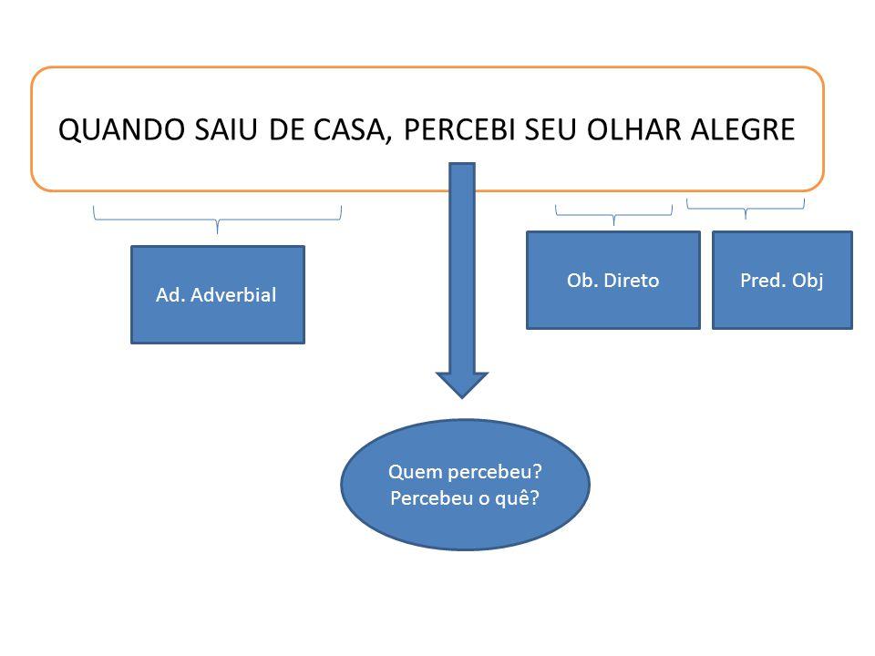 QUANDO SAIU DE CASA, PERCEBI SEU OLHAR ALEGRE