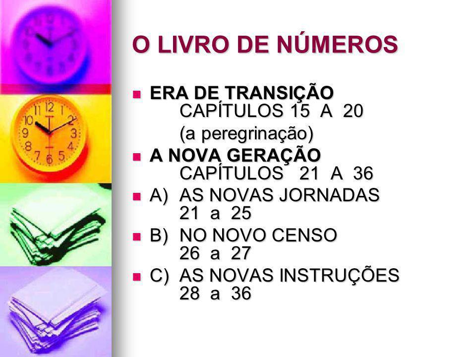 O LIVRO DE NÚMEROS ERA DE TRANSIÇÃO CAPÍTULOS 15 A 20 (a peregrinação)
