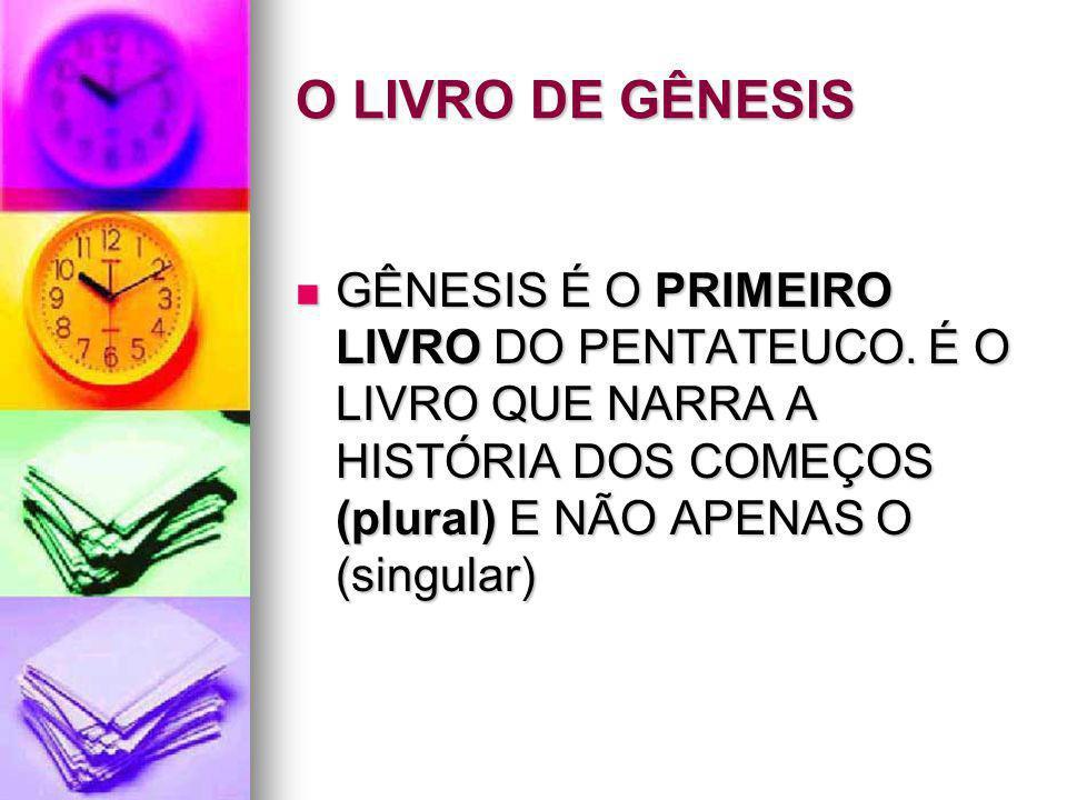 O LIVRO DE GÊNESIS GÊNESIS É O PRIMEIRO LIVRO DO PENTATEUCO.