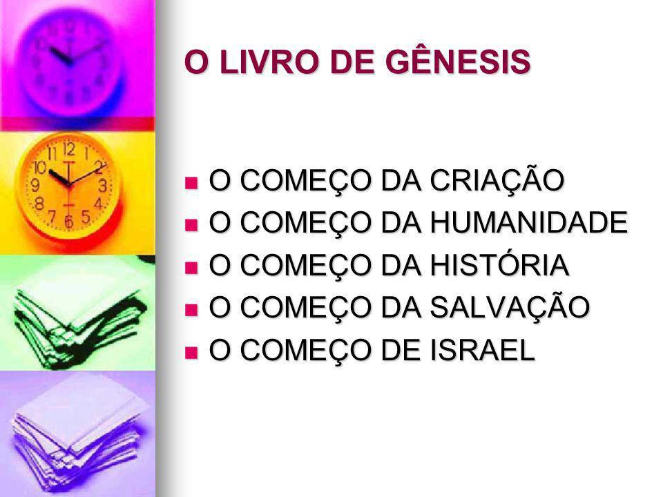O LIVRO DE GÊNESIS O COMEÇO DA CRIAÇÃO O COMEÇO DA HUMANIDADE