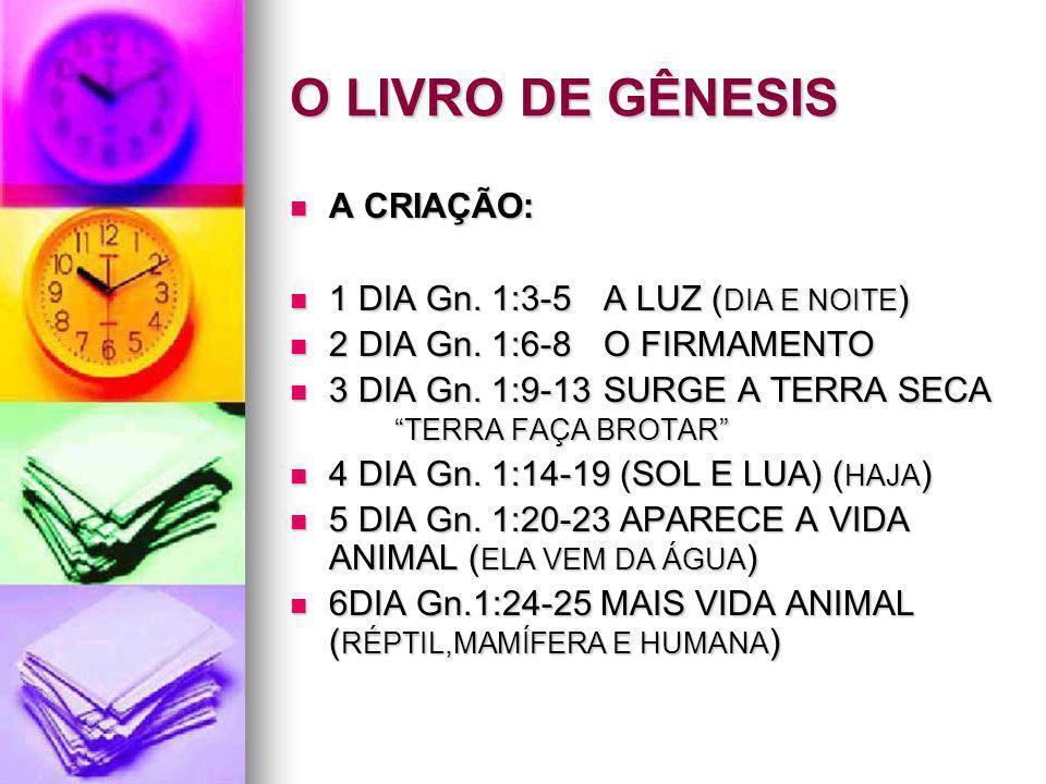 O LIVRO DE GÊNESIS A CRIAÇÃO: 1 DIA Gn. 1:3-5 A LUZ (DIA E NOITE)