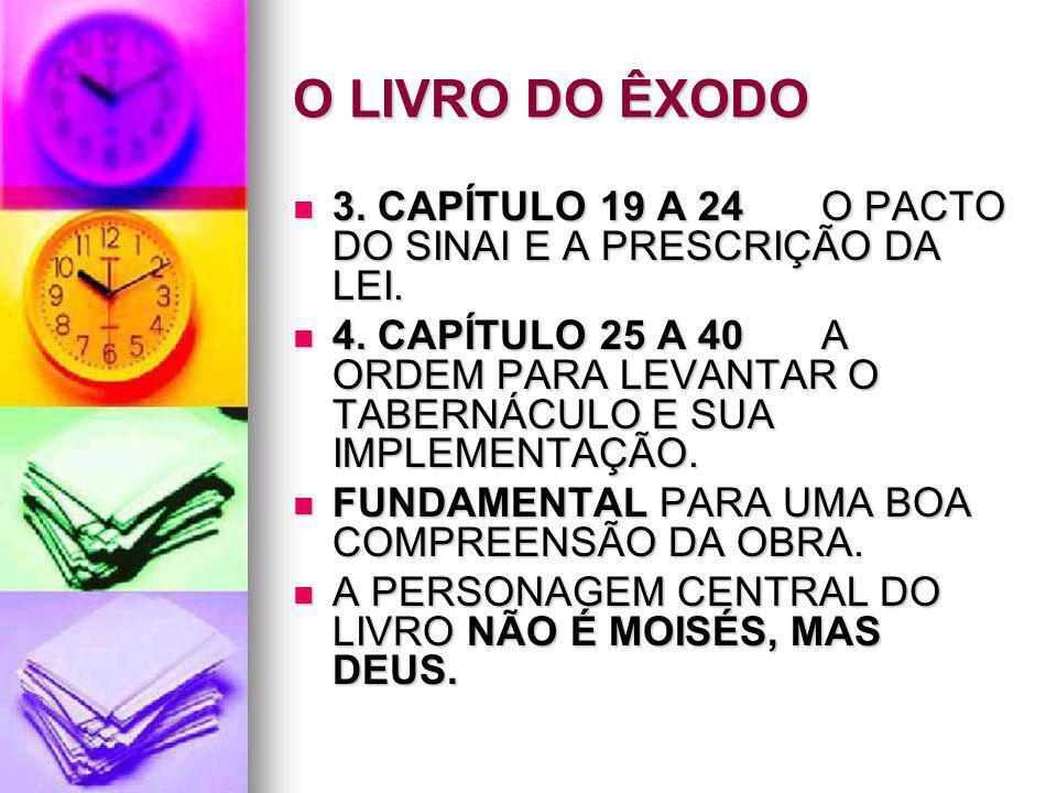 O LIVRO DO ÊXODO 3. CAPÍTULO 19 A 24 O PACTO DO SINAI E A PRESCRIÇÃO DA LEI.