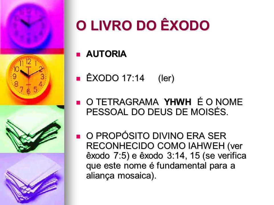 O LIVRO DO ÊXODO AUTORIA ÊXODO 17:14 (ler)