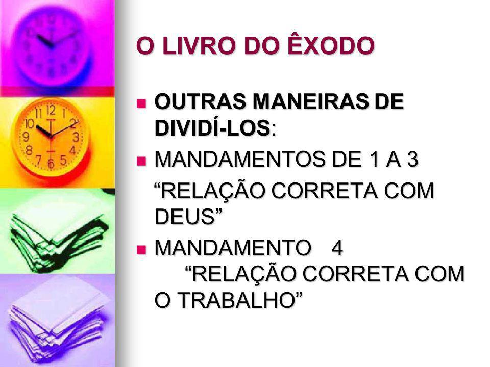 O LIVRO DO ÊXODO OUTRAS MANEIRAS DE DIVIDÍ-LOS: MANDAMENTOS DE 1 A 3