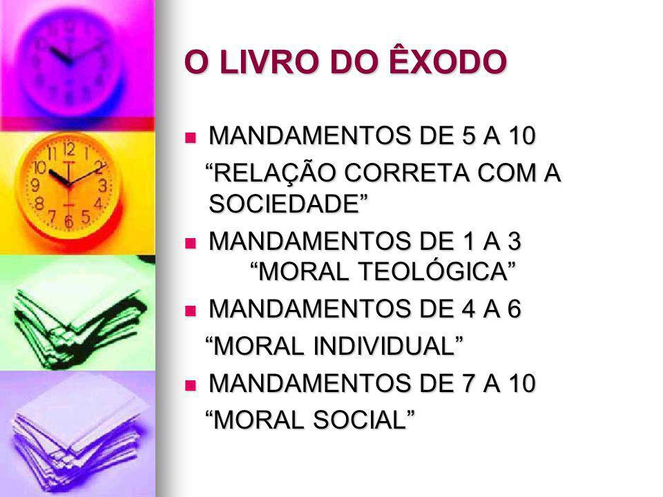 O LIVRO DO ÊXODO MANDAMENTOS DE 5 A 10