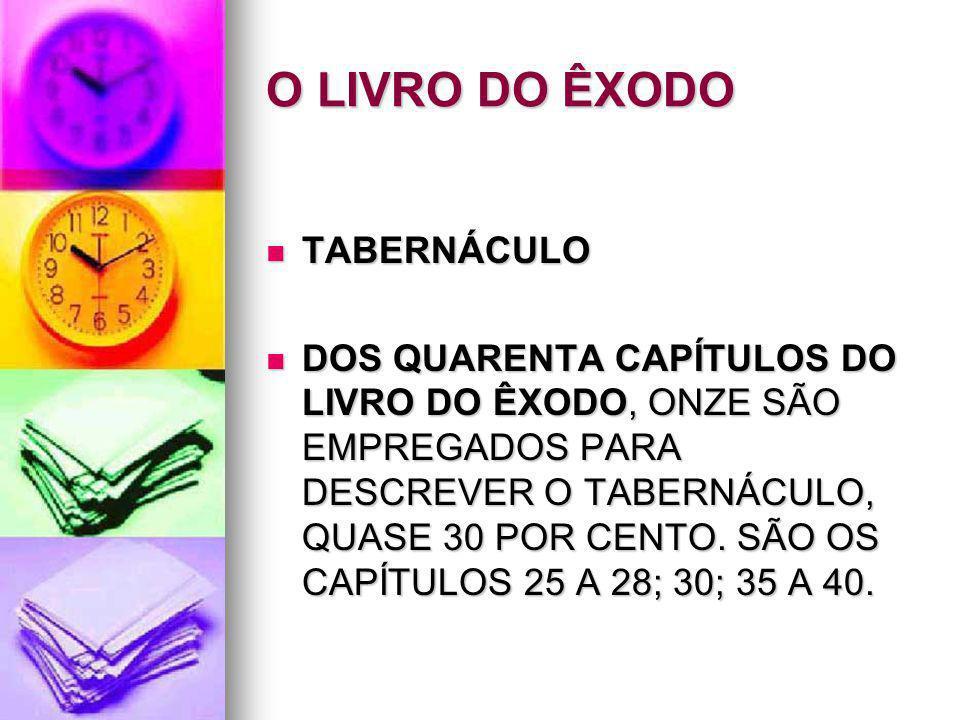 O LIVRO DO ÊXODO TABERNÁCULO