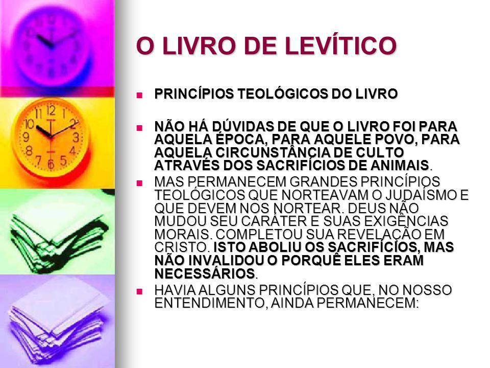 O LIVRO DE LEVÍTICO PRINCÍPIOS TEOLÓGICOS DO LIVRO