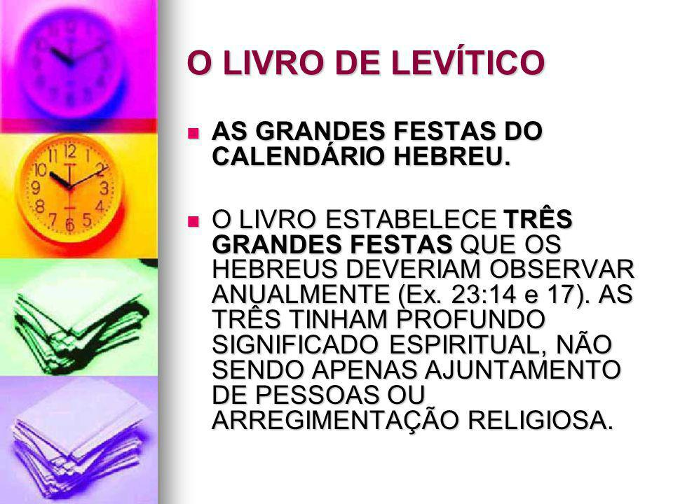 O LIVRO DE LEVÍTICO AS GRANDES FESTAS DO CALENDÁRIO HEBREU.