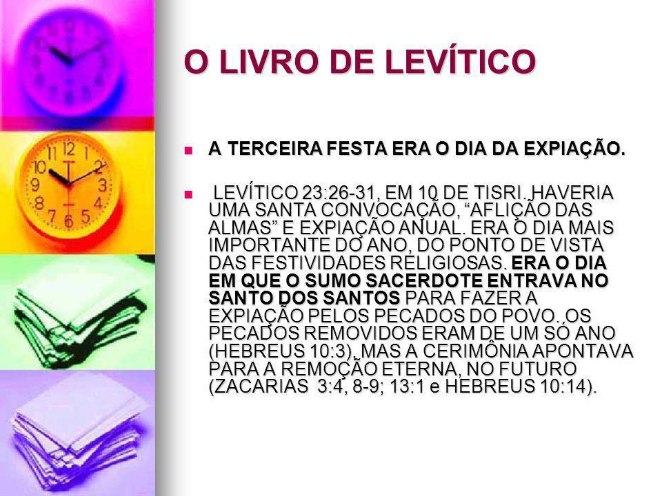 O LIVRO DE LEVÍTICO A TERCEIRA FESTA ERA O DIA DA EXPIAÇÃO.