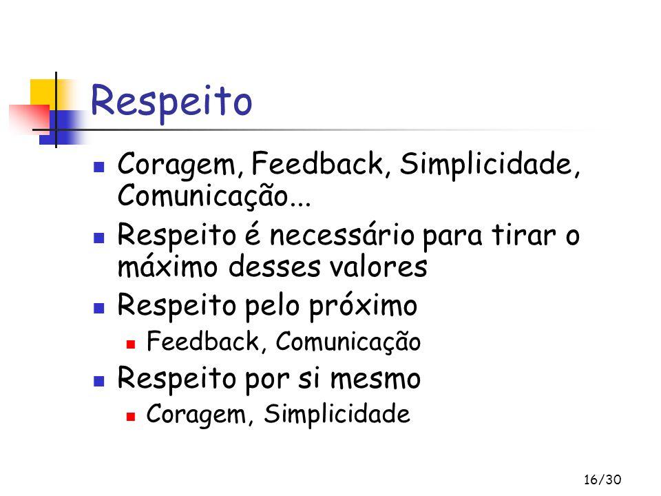 Respeito Coragem, Feedback, Simplicidade, Comunicação...