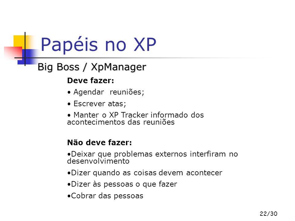 Papéis no XP Big Boss / XpManager Deve fazer: Agendar reuniões;