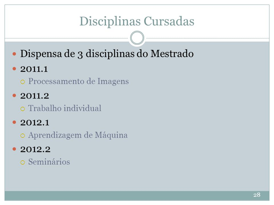 Disciplinas Cursadas Dispensa de 3 disciplinas do Mestrado 2011.1