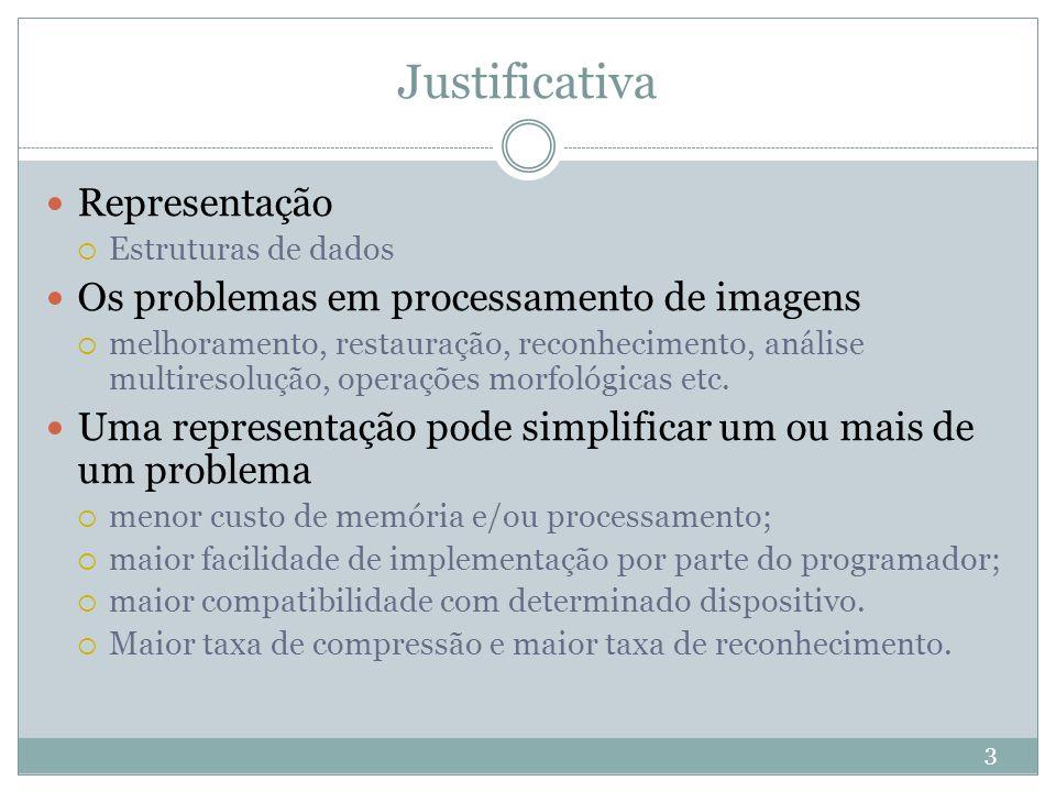 Justificativa Representação Os problemas em processamento de imagens