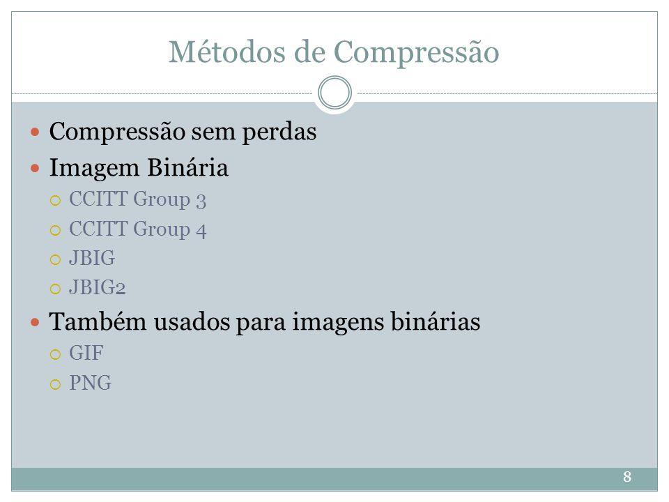 Métodos de Compressão Compressão sem perdas Imagem Binária