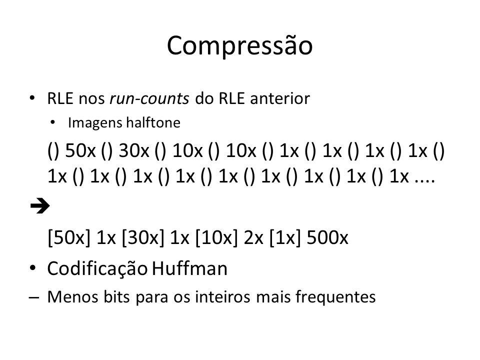 Compressão RLE nos run-counts do RLE anterior. Imagens halftone.