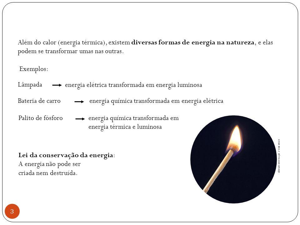 energia elétrica transformada em energia luminosa