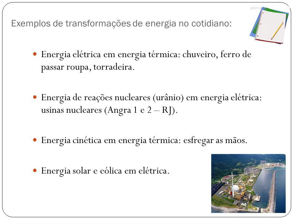 Exemplos de transformações de energia no cotidiano: