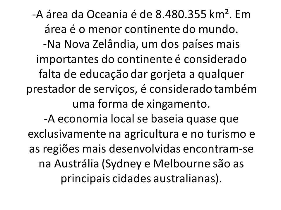 -A área da Oceania é de 8. 480. 355 km²