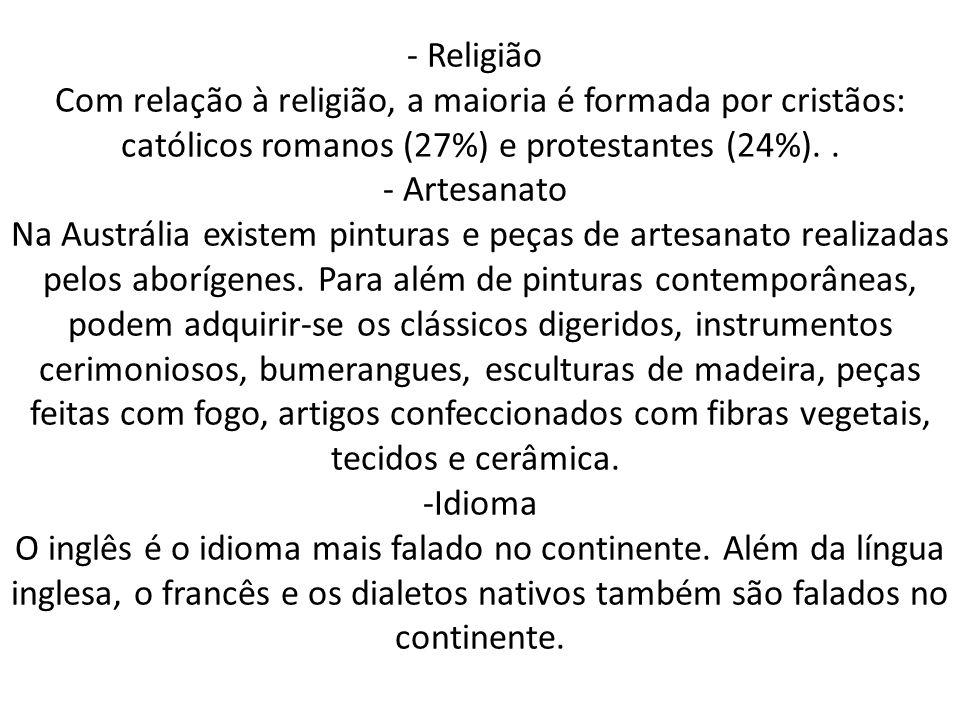 - Religião Com relação à religião, a maioria é formada por cristãos: católicos romanos (27%) e protestantes (24%). .